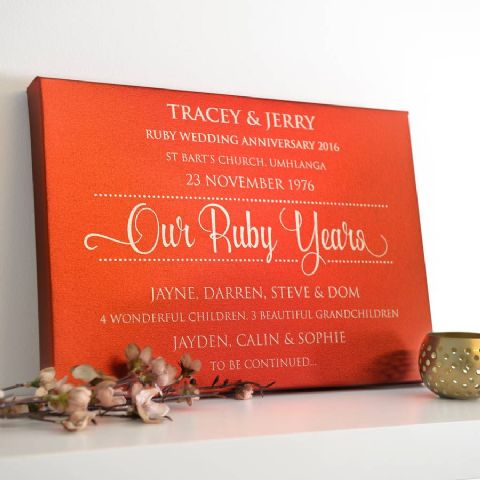 Personalised Ruby Anniversary Red Metallic Canvas